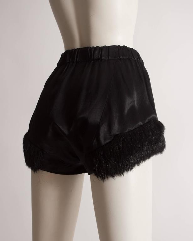 Vivienne Westwood black satin mini shorts with faux fur, circa 1991 6