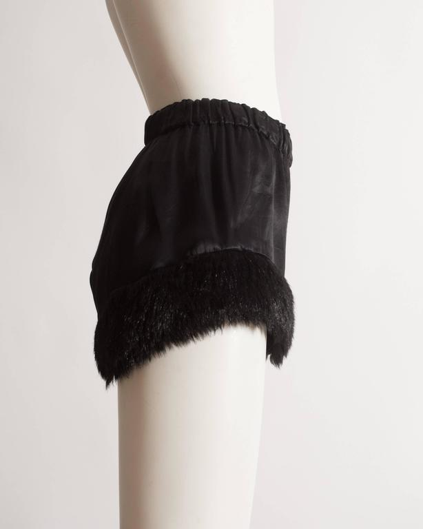 Vivienne Westwood black satin mini shorts with faux fur, circa 1991 5