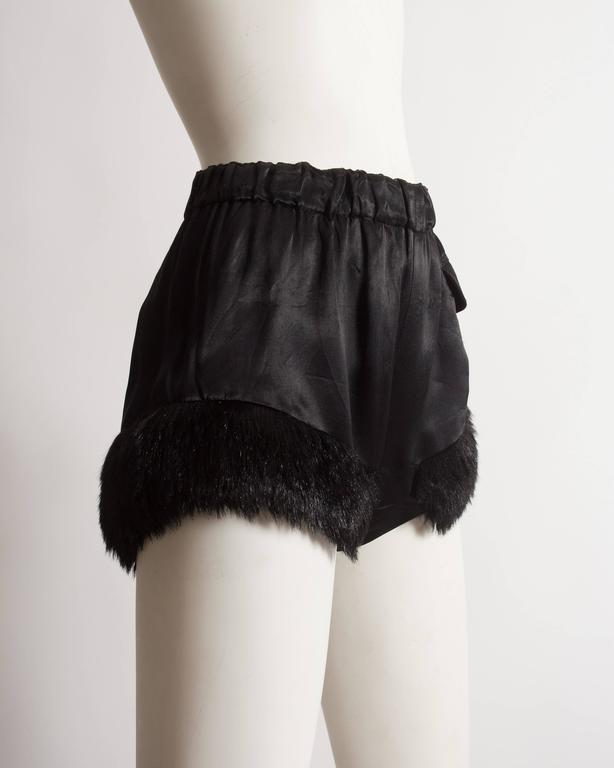 Vivienne Westwood black satin mini shorts with faux fur, circa 1991 2