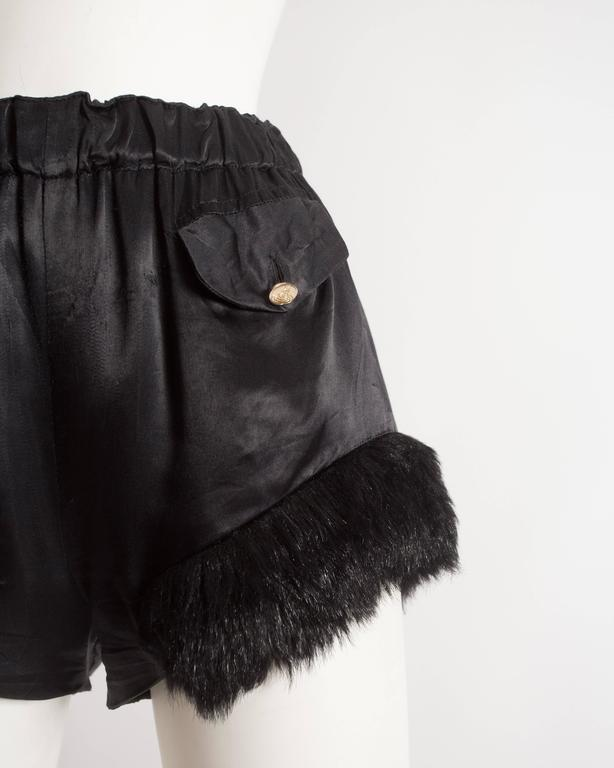 Vivienne Westwood black satin mini shorts with faux fur, circa 1991 4