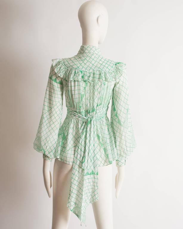 Ossie Clark voile blouse with Celia Birtwell print, circa 1972 7