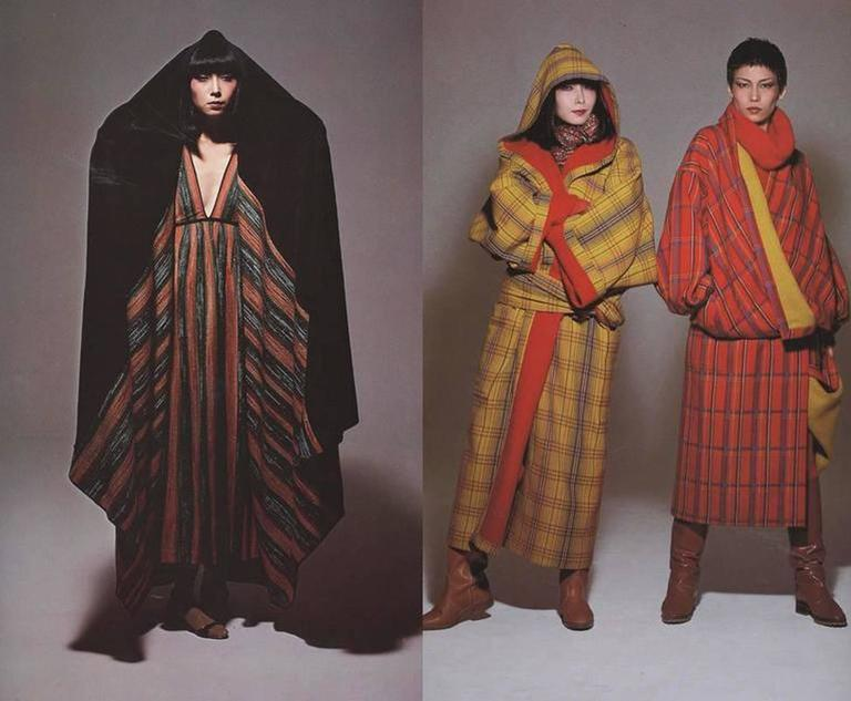 Black Issey Miyake striped knitted robe, circa 1976 For Sale