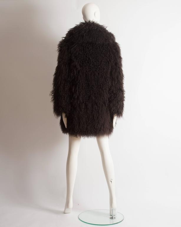 Alaia oversized brown Mongolian lamb coat, circa 2000s 8