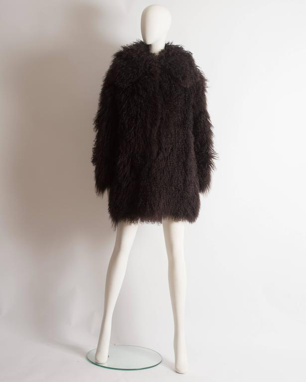 Alaia oversized brown Mongolian lamb coat, circa 2000s 3