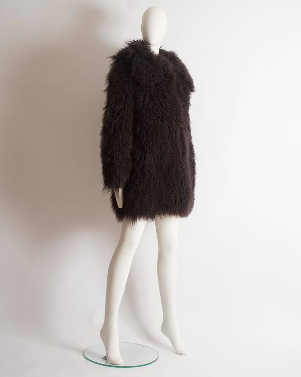 Alaia oversized brown Mongolian lamb coat, circa 2000s 6