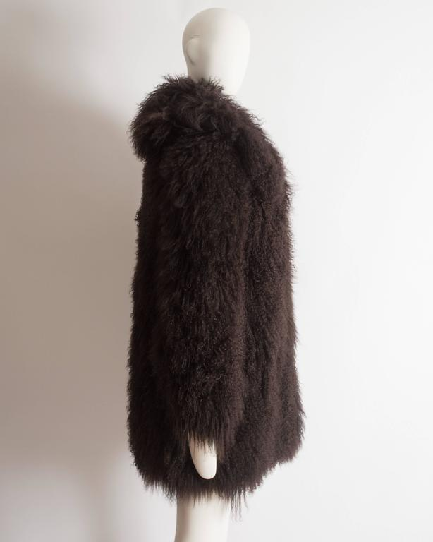Alaia oversized brown Mongolian lamb coat, circa 2000s 7