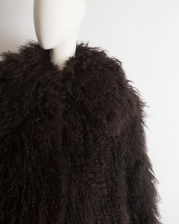 Alaia oversized brown Mongolian lamb coat, circa 2000s 5