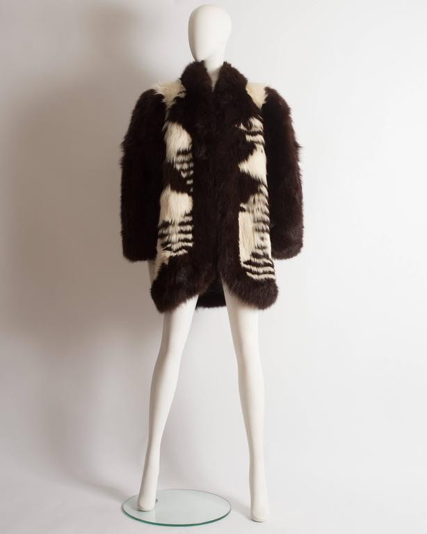 Yves Saint Laurent oversized wild fox coat, circa 1980s 3