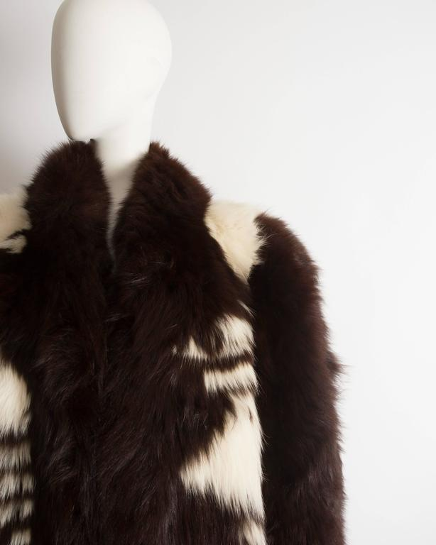 Yves Saint Laurent oversized wild fox coat, circa 1980s 4