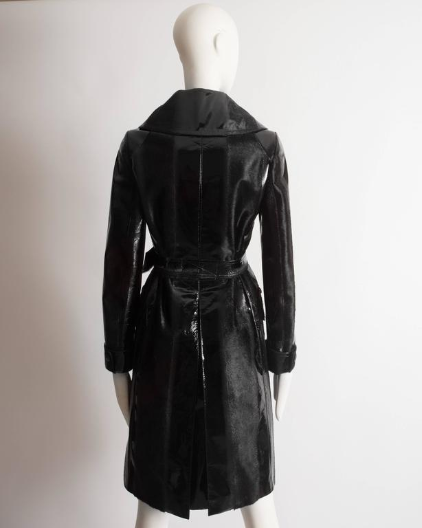 Alaia structured varnished pony hair trench coat, AW 2014 For Sale 3