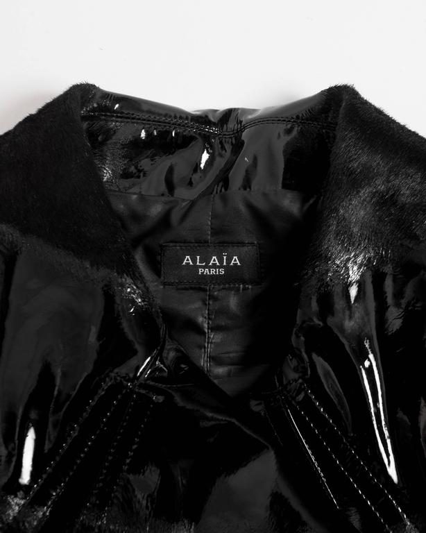 Alaia structured varnished pony hair trench coat, AW 2014 For Sale 5