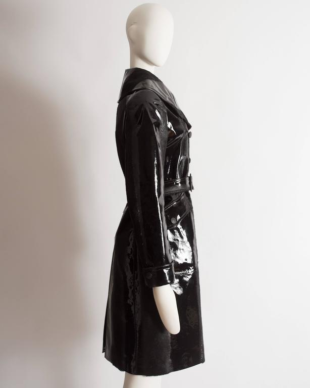 Alaia structured varnished pony hair trench coat, AW 2014 For Sale 1