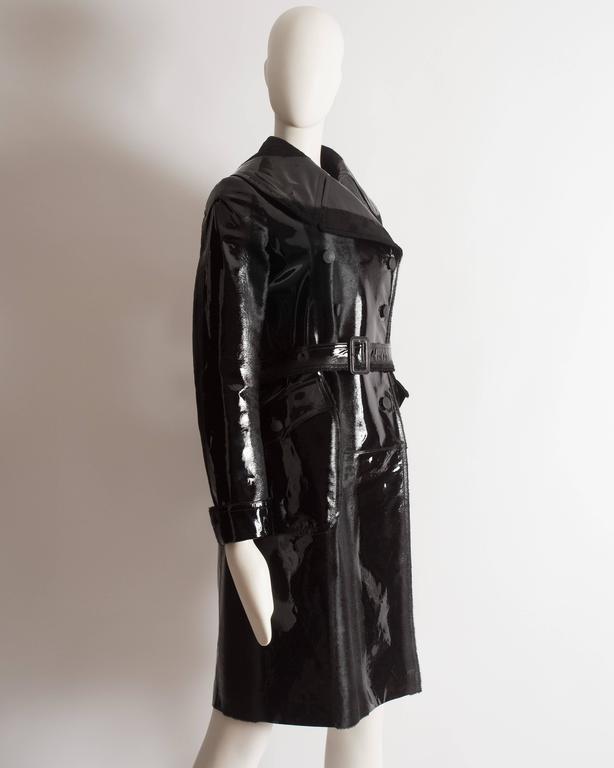 Women's Alaia structured varnished pony hair trench coat, AW 2014 For Sale
