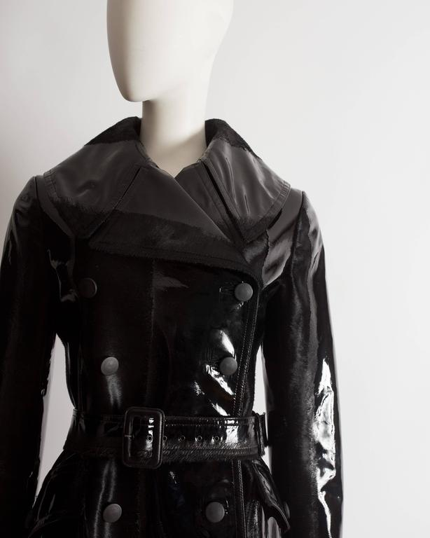Alaia structured varnished pony hair trench coat, AW 2014 In New Condition For Sale In London, GB