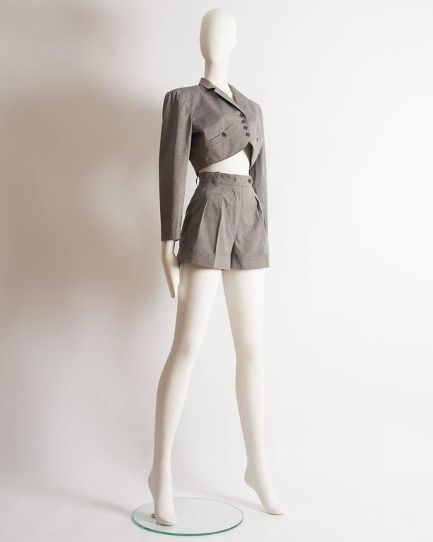 Women's Alaia cotton mini short suit, SS 1988 For Sale