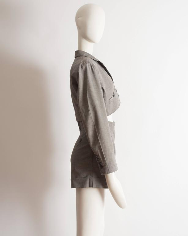 Alaia cotton mini short suit, SS 1988 For Sale 2