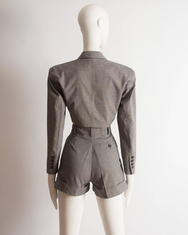 Alaia cotton mini short suit, SS 1988 For Sale 3