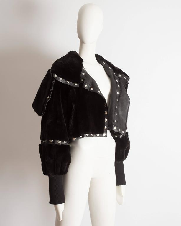 Dolce & Gabbana studded sheared beaver fur cropped jacket, AW 2003 5