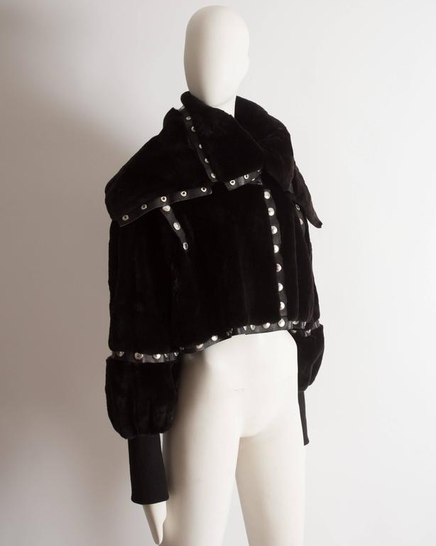 Dolce & Gabbana studded sheared beaver fur cropped jacket, AW 2003 9