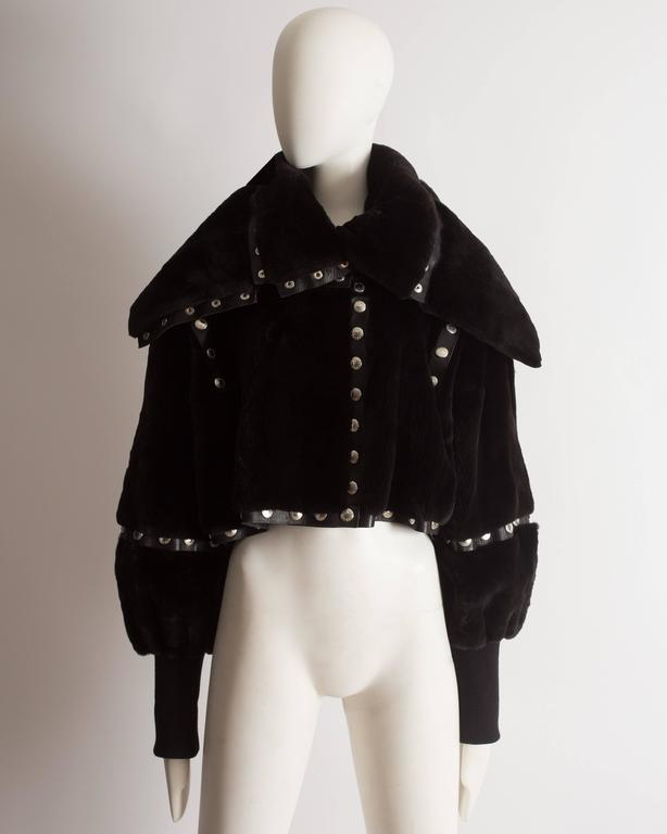 Dolce & Gabbana studded sheared beaver fur cropped jacket, AW 2003 2