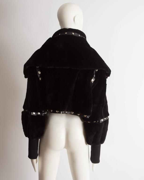 Dolce & Gabbana studded sheared beaver fur cropped jacket, AW 2003 8
