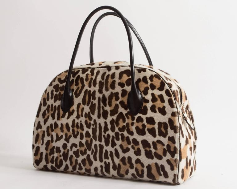 Alaia large pony hair leopard print tote bag 5