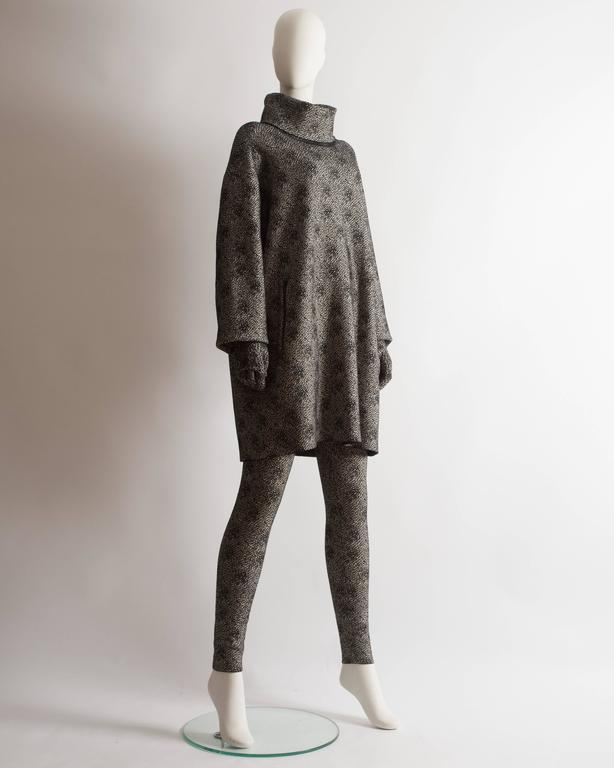 Women's Alaia knitted sweater dress, leggings and gloves ensemble  For Sale