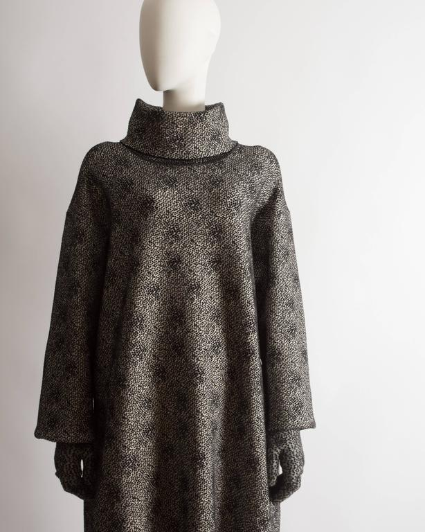 Black Alaia knitted sweater dress, leggings and gloves ensemble  For Sale