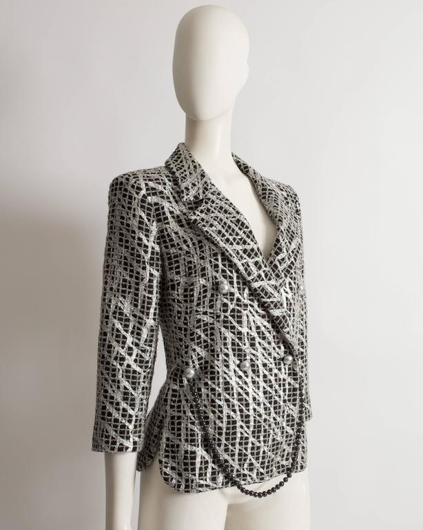 Black Chanel double breasted metallic silver evening jacket, SS 2012 For Sale