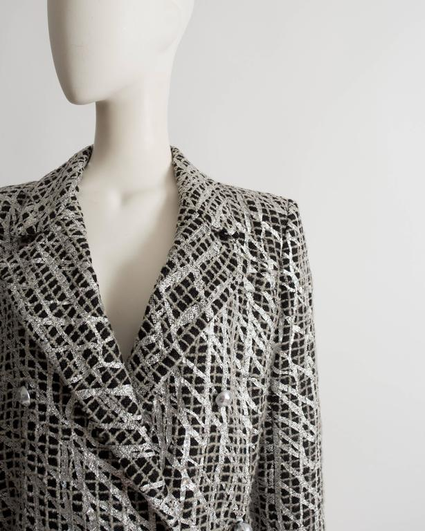 Women's Chanel double breasted metallic silver evening jacket, SS 2012 For Sale
