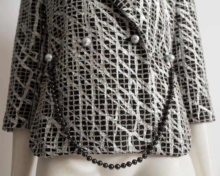 Chanel double breasted metallic silver evening jacket, SS 2012 For Sale 1
