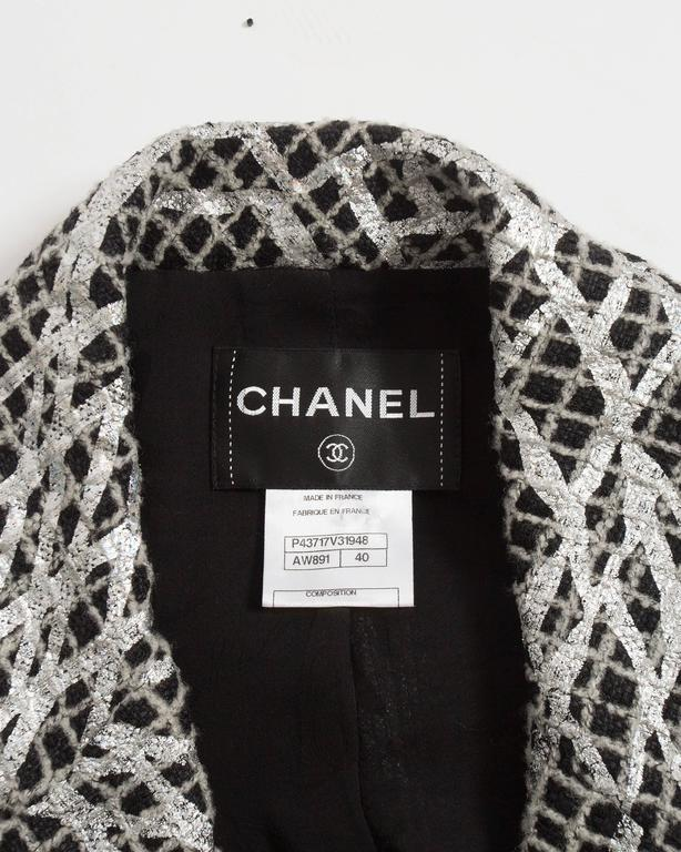 Chanel double breasted metallic silver evening jacket, SS 2012 For Sale 5