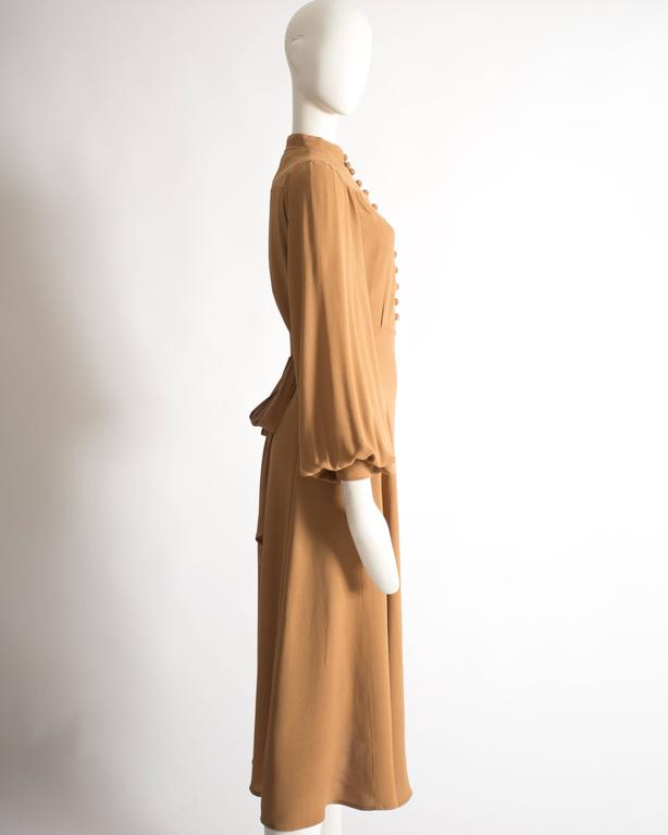 Ossie Clark caramel moss crepe mandarin collared dress, Circa 1970 For Sale 1
