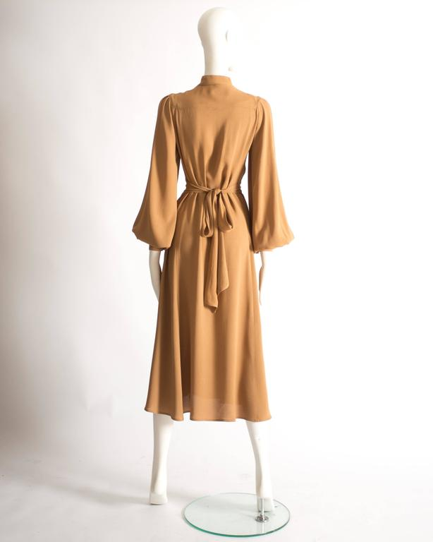Ossie Clark caramel moss crepe mandarin collared dress, Circa 1970 For Sale 2