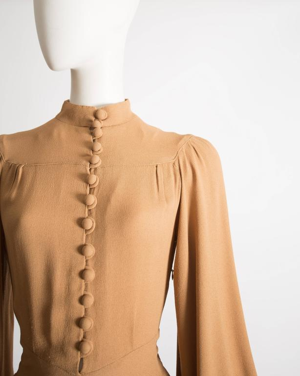 Beige Ossie Clark caramel moss crepe mandarin collared dress, Circa 1970 For Sale
