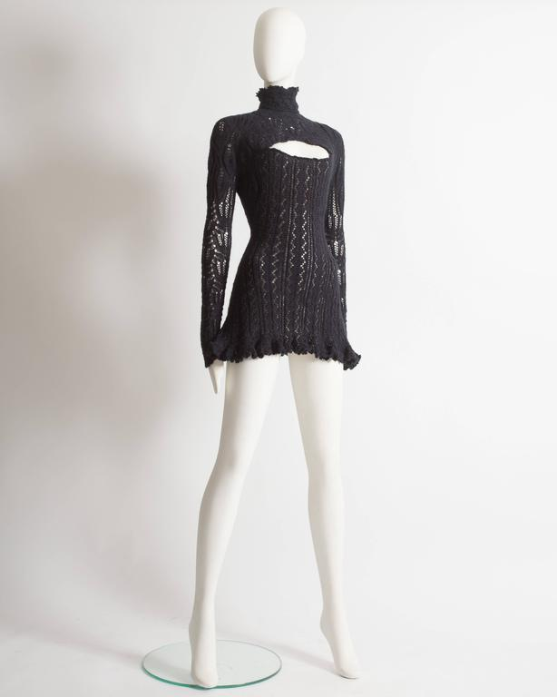 Women's Vivienne Westwood corseted crochet knit mini dress, AW 1993 For Sale