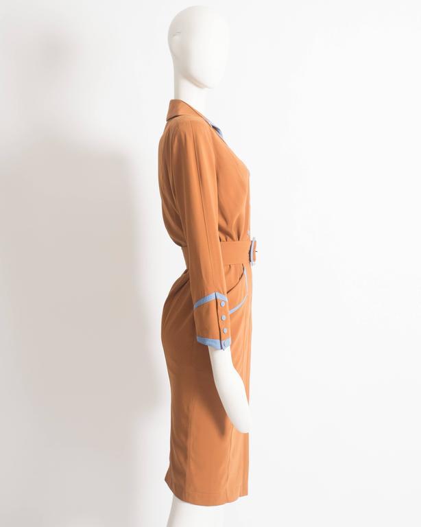 Thierry Mugler mustard gabardine shirt dress, AW 1986 6