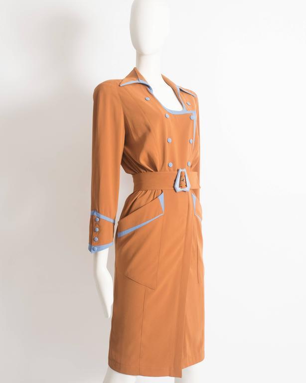 Thierry Mugler mustard gabardine shirt dress, AW 1986 5