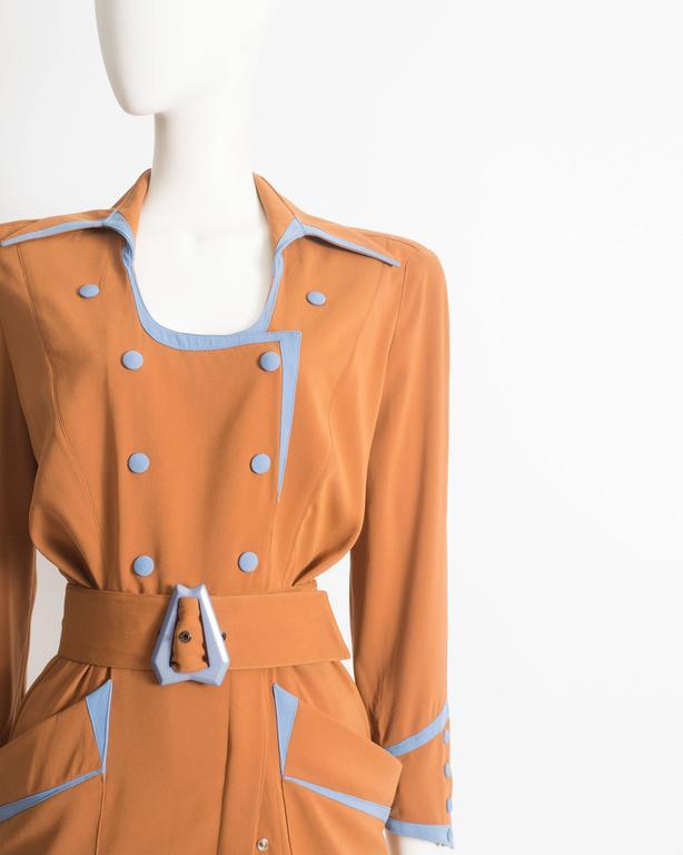 Thierry Mugler mustard gabardine shirt dress, AW 1986 3
