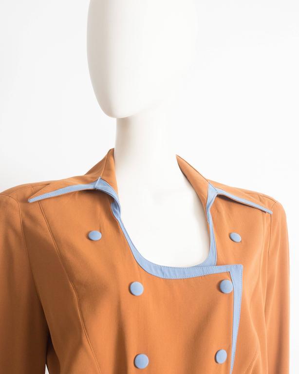 Thierry Mugler mustard gabardine shirt dress, AW 1986 4