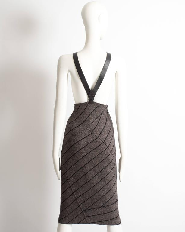Alaia high waisted knitted skirt with leather harness, circa 1987 For Sale 2