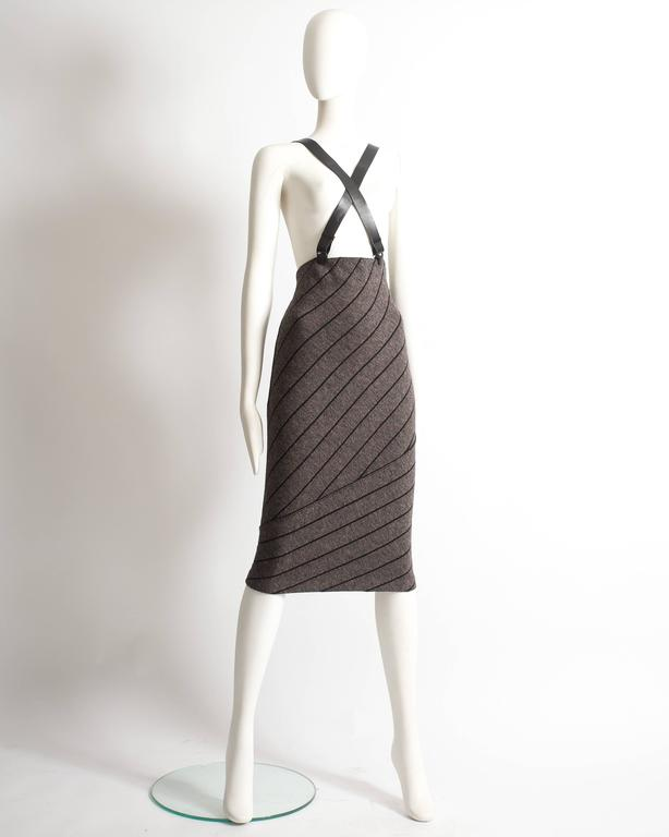 Alaia high waisted knitted skirt with leather harness, circa 1987 In Excellent Condition For Sale In London, GB