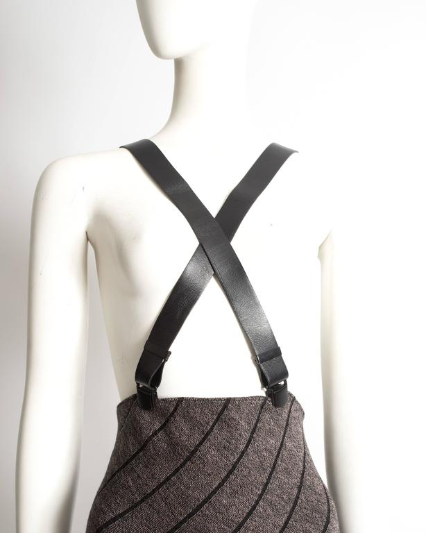 Alaia high waisted knitted skirt with leather harness, circa 1987 6