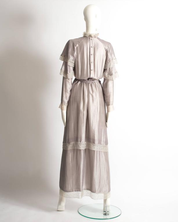 Tan Giudicelli raw silk evening dress with lace trim, circa 1970s 7