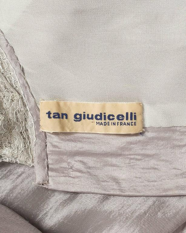 Tan Giudicelli raw silk evening dress with lace trim, circa 1970s For Sale 3