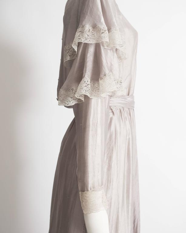 Tan Giudicelli raw silk evening dress with lace trim, circa 1970s 6