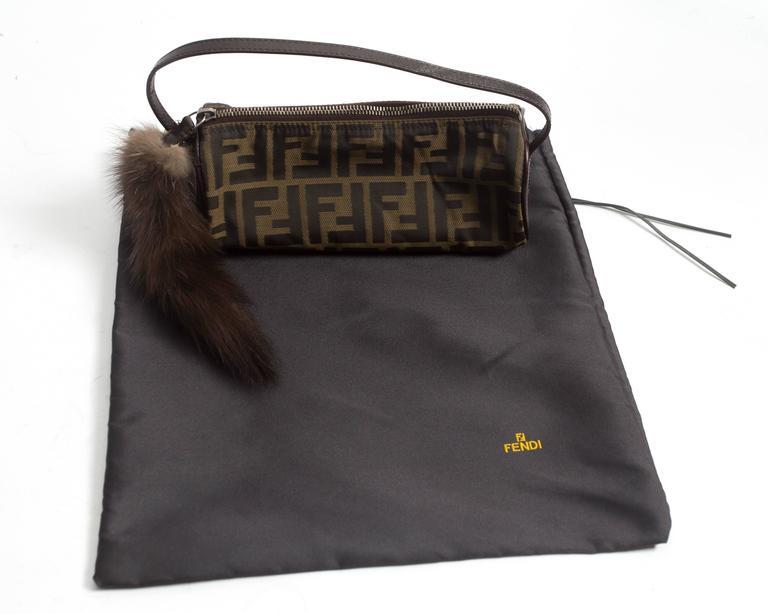 Fendi miniature nylon monogram bag with fox tail 6