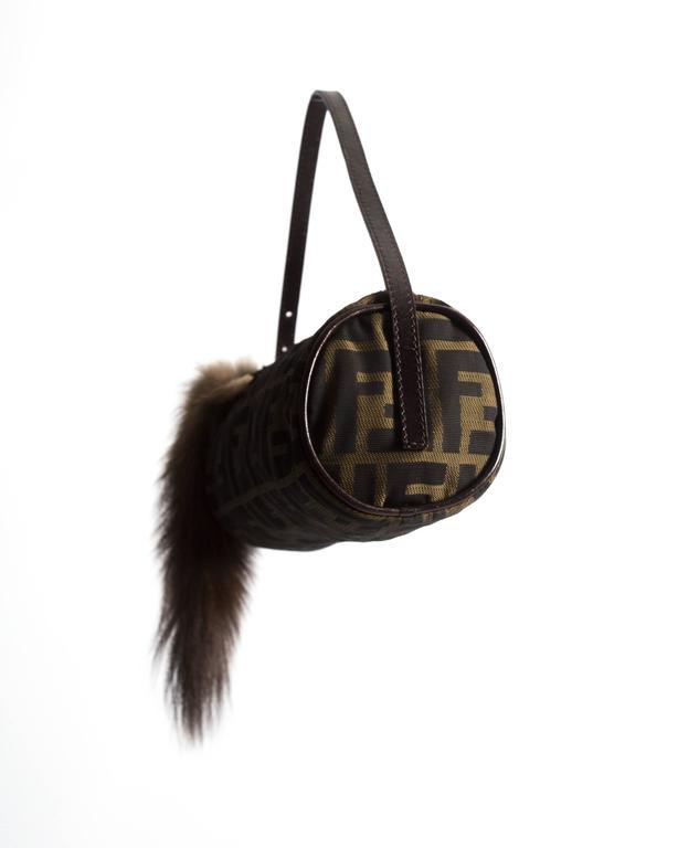 Fendi miniature nylon monogram bag with fox tail 2