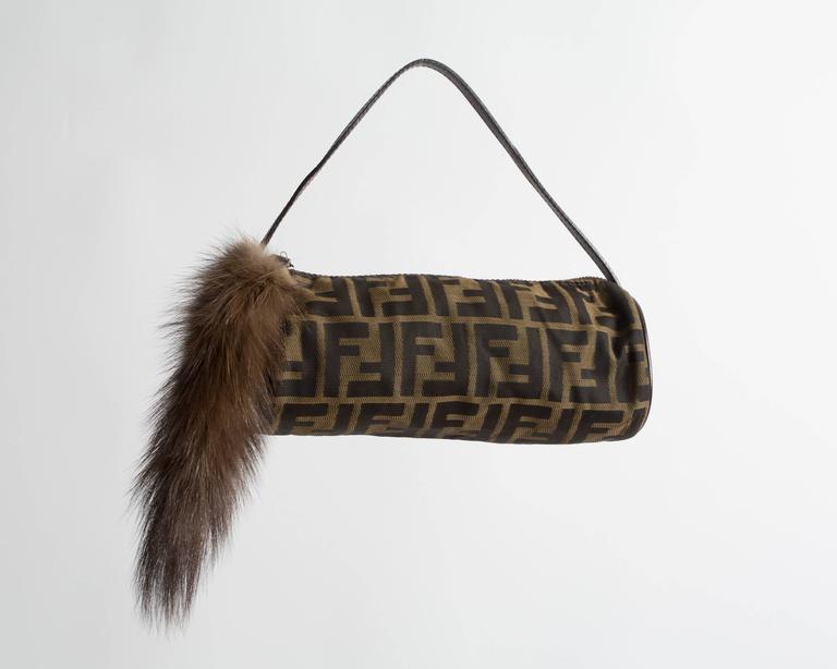 Fendi miniature nylon monogram bag with fox tail 5