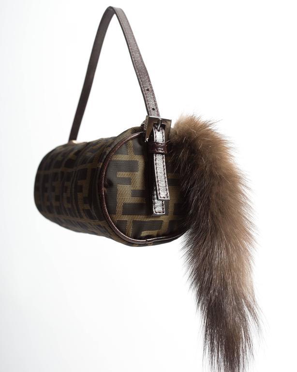 Fendi miniature nylon monogram bag with fox tail 4